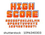 pixel vector font design ... | Shutterstock .eps vector #1096340303
