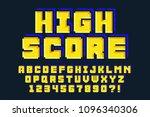 pixel vector font design ... | Shutterstock .eps vector #1096340306