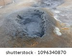 grey hot mud bubbling in a hole ... | Shutterstock . vector #1096340870