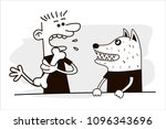 man and dog. funny vector. | Shutterstock .eps vector #1096343696