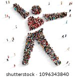 large and diverse group of... | Shutterstock . vector #1096343840