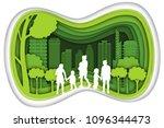 carving design of city urban ... | Shutterstock .eps vector #1096344473