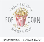 popcorn with typography slogan | Shutterstock .eps vector #1096351679