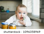 beautiful baby with blue eyes...   Shutterstock . vector #1096358969