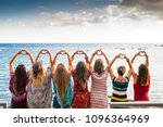 beautiful seven girls from the... | Shutterstock . vector #1096364969