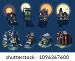 spooky house vector haunted... | Shutterstock .eps vector #1096367600