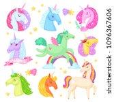 unicorn vector cartoon kids... | Shutterstock .eps vector #1096367606
