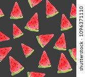 seamless summer watercolor... | Shutterstock . vector #1096371110