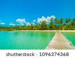 wooden pier or bridge with... | Shutterstock . vector #1096374368
