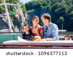 happy family on river cruise... | Shutterstock . vector #1096377113