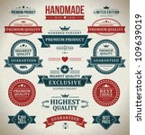 Stock vector vintage labels set vector design elements 109639019