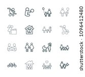 mother icon. collection of 16... | Shutterstock .eps vector #1096412480