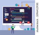 flat design concept programmer...   Shutterstock .eps vector #1096412930