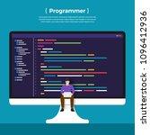 flat design concept programmer... | Shutterstock .eps vector #1096412936