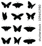 Stock vector silhouettes of butterflies vector 109641980