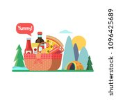 picnic basket with food on the... | Shutterstock .eps vector #1096425689