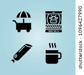 filled food 4 vector icons set. ...