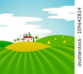 vector landscape   farm and... | Shutterstock .eps vector #109642814
