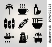 filled food 9 vector icons set. ...
