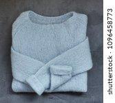 pastel blue knitted woolen... | Shutterstock . vector #1096458773