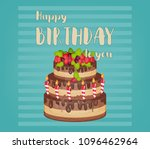 happy birthday card. cake with... | Shutterstock .eps vector #1096462964