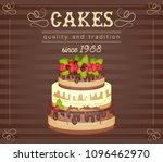 cake with fresh berries and... | Shutterstock .eps vector #1096462970