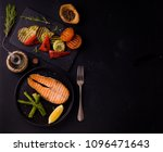 grilled salmon with asparagus | Shutterstock . vector #1096471643