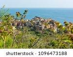picturesque village rising... | Shutterstock . vector #1096473188
