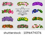 flower wreaths set. spring... | Shutterstock .eps vector #1096474376