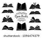 open books black silhouettes.... | Shutterstock .eps vector #1096474379