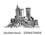 graphical foix castle from... | Shutterstock .eps vector #1096474604