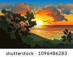silhouette of the forest in... | Shutterstock .eps vector #1096486283
