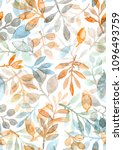 watercolor hand painted leaves... | Shutterstock . vector #1096493759
