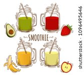 set smoothie or milkshake in... | Shutterstock .eps vector #1096495646