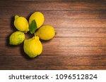 lemons on caulked mahogany wood ...   Shutterstock . vector #1096512824