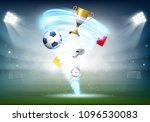 soccer ball and gold cup on the ... | Shutterstock .eps vector #1096530083