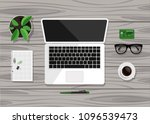 top view of business workplace... | Shutterstock .eps vector #1096539473
