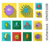 types of funny microbes flat... | Shutterstock . vector #1096551038