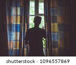 alone man silhouette staring at ... | Shutterstock . vector #1096557869