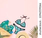 bikini swimsuit with tropical...   Shutterstock . vector #1096559066