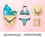 bikini swimsuit with tropical... | Shutterstock . vector #1096559180