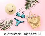bikini swimsuit with tropical... | Shutterstock . vector #1096559183