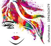face of a beautiful girl with... | Shutterstock .eps vector #1096563479
