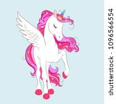 white girl unicorn with pink... | Shutterstock .eps vector #1096566554
