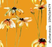 seamless wallpaper with yellow... | Shutterstock . vector #1096569479