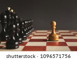 one pawn standing against set... | Shutterstock . vector #1096571756