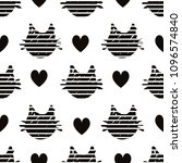 Stock vector abstract black heads of cats pattern on white background with hearts 1096574840