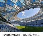 Small photo of Nizhny Novgorod/Russia - July 04, 2018: The football stadium in Nizhny Novgorod is ready to World Cup FIFA 2018 in Russia, games: 1\8 finals Denmark - Croatia, 1\4 finals Uruguay - France
