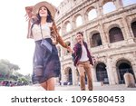 young couple at the colosseum ... | Shutterstock . vector #1096580453