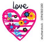 love t shirt design with big... | Shutterstock .eps vector #1096583180